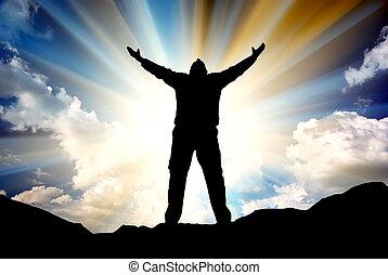 árnykép, közül, ember, és, napfény