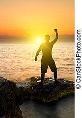 árnykép, közül, ember, képben látható, a, naplemente óceán, háttér