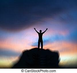 árnykép, közül, ember, képben látható, a, napnyugta