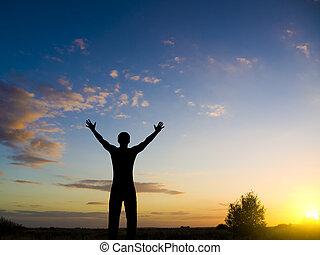 árnykép, közül, ember, képben látható, a, sunset.