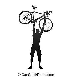 árnykép, közül, ember, noha, kezezés on, versenyzés, bicycles