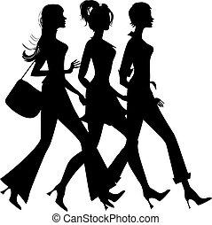 árnykép, közül, három, bevásárlás, lány