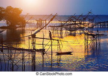árnykép, közül, hagyományos, halászat, módszer, használ,...