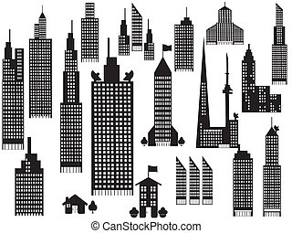 árnykép, közül, kilátás, város, épületek