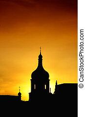 árnykép, közül, templom