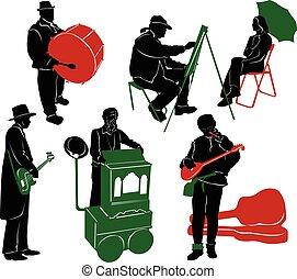 árnykép, közül, utca, performers