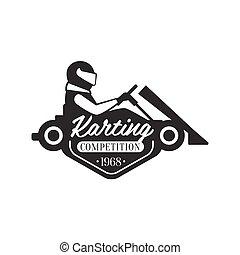 árnykép, kart, klub, karting, esemény, promo, tervezés, sablon, jel, fekete, fehér, lovas
