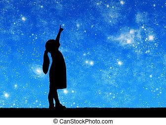 árnykép, kevés, csecsemő lány, külső at, starry ég, és,...