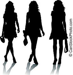 árnykép, mód, lány
