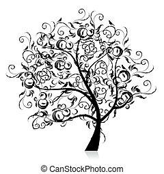 árnykép, művészet, fa, gyönyörű, fekete