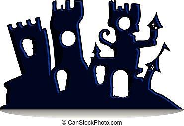 árnykép, mindenszentek napjának előestéje, mesés, háttér, tervezés, gót, fehér, ünnep, bástya