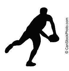 árnykép, rögbi, -, játékos, futás, hágó, gyártás, sport