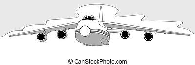 árnykép, repülőgép, háttér, vektor, ábra, fehér