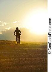 árnykép, sport, bábu bicikli, lesiklás, lovaglás, áthalad ország, felmegy