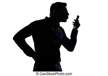 árnykép, telefon, ember, portré, videophone