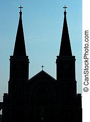 árnykép, templom, közül, krisztus