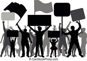 árnykép, tolong, emberek, megnyilatkozás, elszigetelt, bizonyítás, vektor, banners., strike., zászlók, fehér, tiltakozás, forradalom, háttér