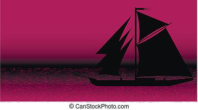 árnykép, után, fekete-tengeri, napnyugta, hajó