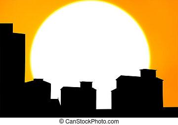 árnykép, város, képben látható, a, napnyugta
