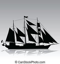 árnykép, vektor, öreg, vitorlás hajó
