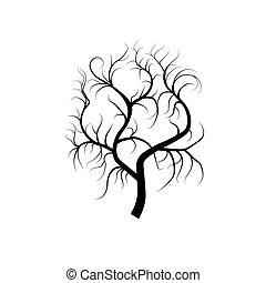 árnykép, vektor, fekete, gyökér, fa