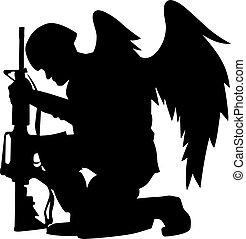 árnykép, vektor, hadi, angel szárny, ábra, katona, térdelés