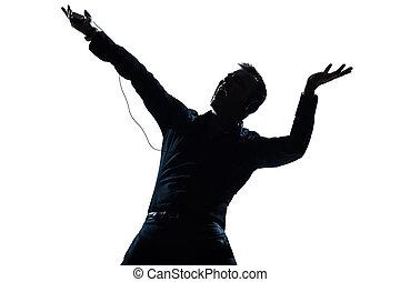 árnykép, zene hallgat, portré, boldog, ember