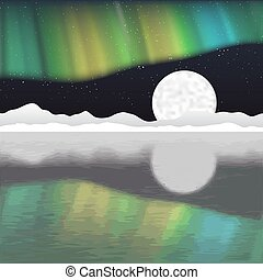 ártico, aurora, vector, poste, paisaje