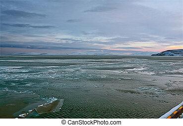 ártico, cobertura, gelo, oceânicos