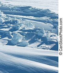 ártico, formação, neve, puro