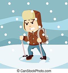 ártico, hombres, explorador, tormenta, nieve