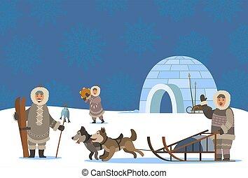 ártico, inuits, gente, arreglo, aldea, iglú
