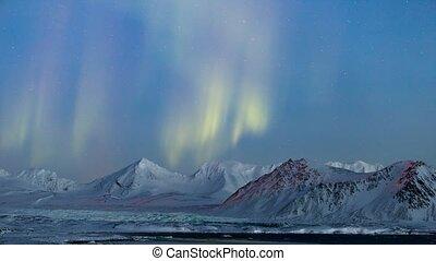 ártico, paisagem, luzes norte