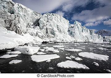 ártico, -, paisaje de invierno, glaciares