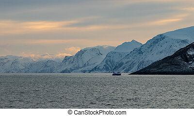 ártico, paisaje, fiordo