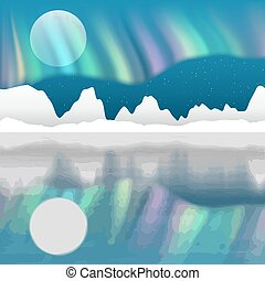 ártico, paisaje, vector, aurora, poste