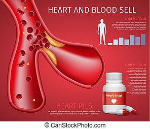árul, szív, gyakorlatias, tájékoztató, vér, transzparens
