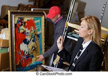árverés, értékesítések, közben, festmény, vásárlás, ember