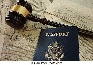 árverezői kalapács, és, útlevél