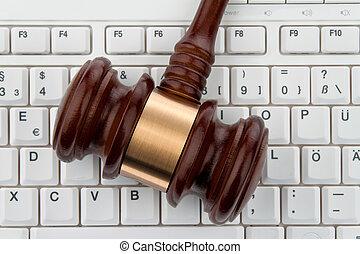 árverezői kalapács, és, keyboard., jogi, biztonság, képben látható, internet