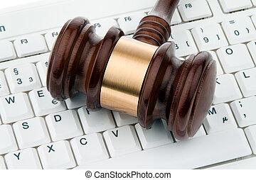 árverezői kalapács, és, keyboard., jogi, biztonság, képben...