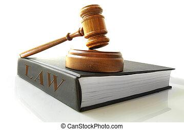 árverezői kalapács, könyv, jogi, törvény