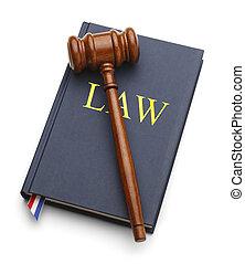 árverezői kalapács, törvénykönyv