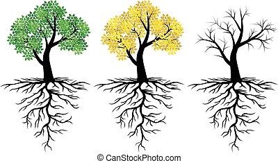 árvore, ícone, com, verde sai, e, raizes, jogo
