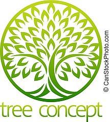 árvore, ícone, conceito, círculo