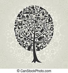 árvore, a, indústria