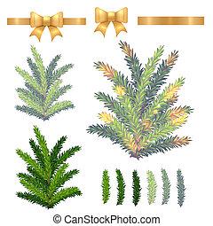 árvore abeto, isolado, vetorial, christmas branco