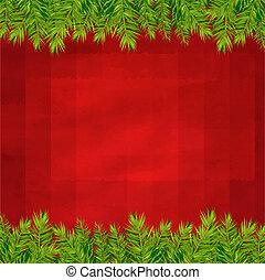 árvore abeto, retro, fundo, fronteiras, vermelho