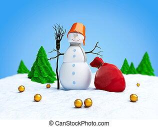 árvore abeto, saco, fundo, branca, bonecos neve