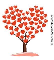 árvore, abstratos, coroa, desenho, corações